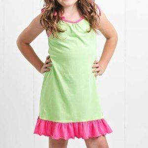 Ruffle Girl Dresses - Ruffle Girl Lime & Pink Tie String Dress